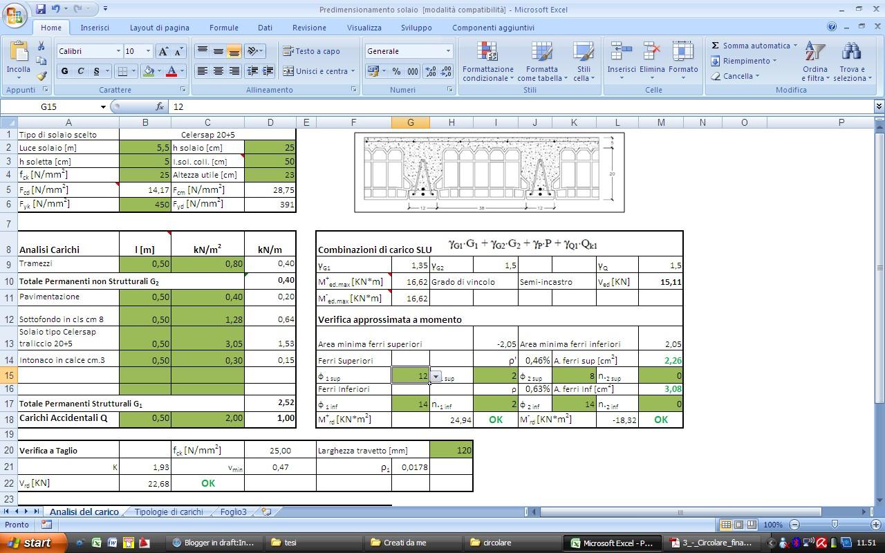 Struttura Di Un Solaio foglio di calcolo - predimensionamento solaio - ingegneria e
