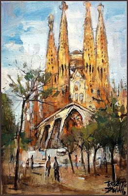 la sagrada familia barcelona obras del arquitecto antoni gaudi en la pintura de ernest descals