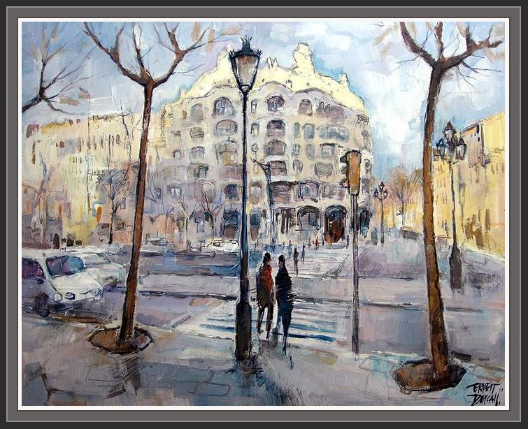 Cuadros ernest descals pinturas la pedrera de barcelona gaudi modernismo edificios modernistas - Pintores de barcelona ...