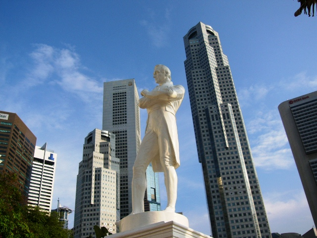 Stamford Raffles . . . against the Singapore skyline