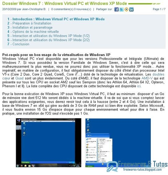 Le site du jour : spécial Windows 7 - tout savoir sur Windows Virtual PC et le mode Windows XP Mode