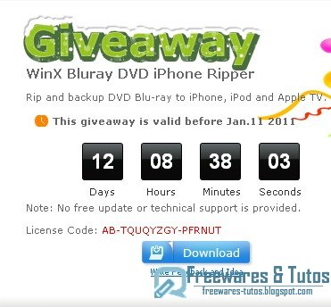 Offre promotionnelle : WinX Bluray DVD iPhone Ripper gratuit !