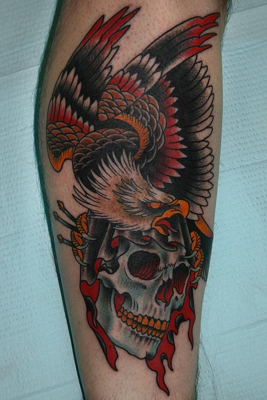 American Traditional Skull And Eagle