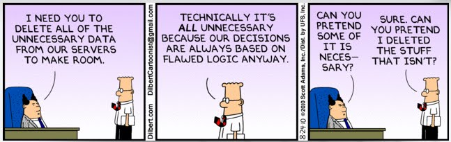 Image result for dilbert data and logic cloud