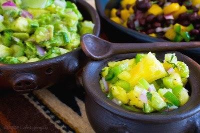 ... Salsas- Black Bean-Mango, Avocado -Tomatillo and Pineapple-Tomatillo