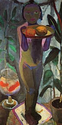 Enfant Nu avec un Bocal de Poissons Rouges (1906-07), Paula Modersohn-Becker
