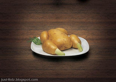 funny food potato chicken