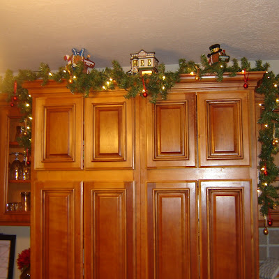 Holiday Decorating Above Kitchen Cabinets