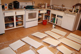 SIMPLY STAFFORD: Spray Painting Kitchen Cabinets