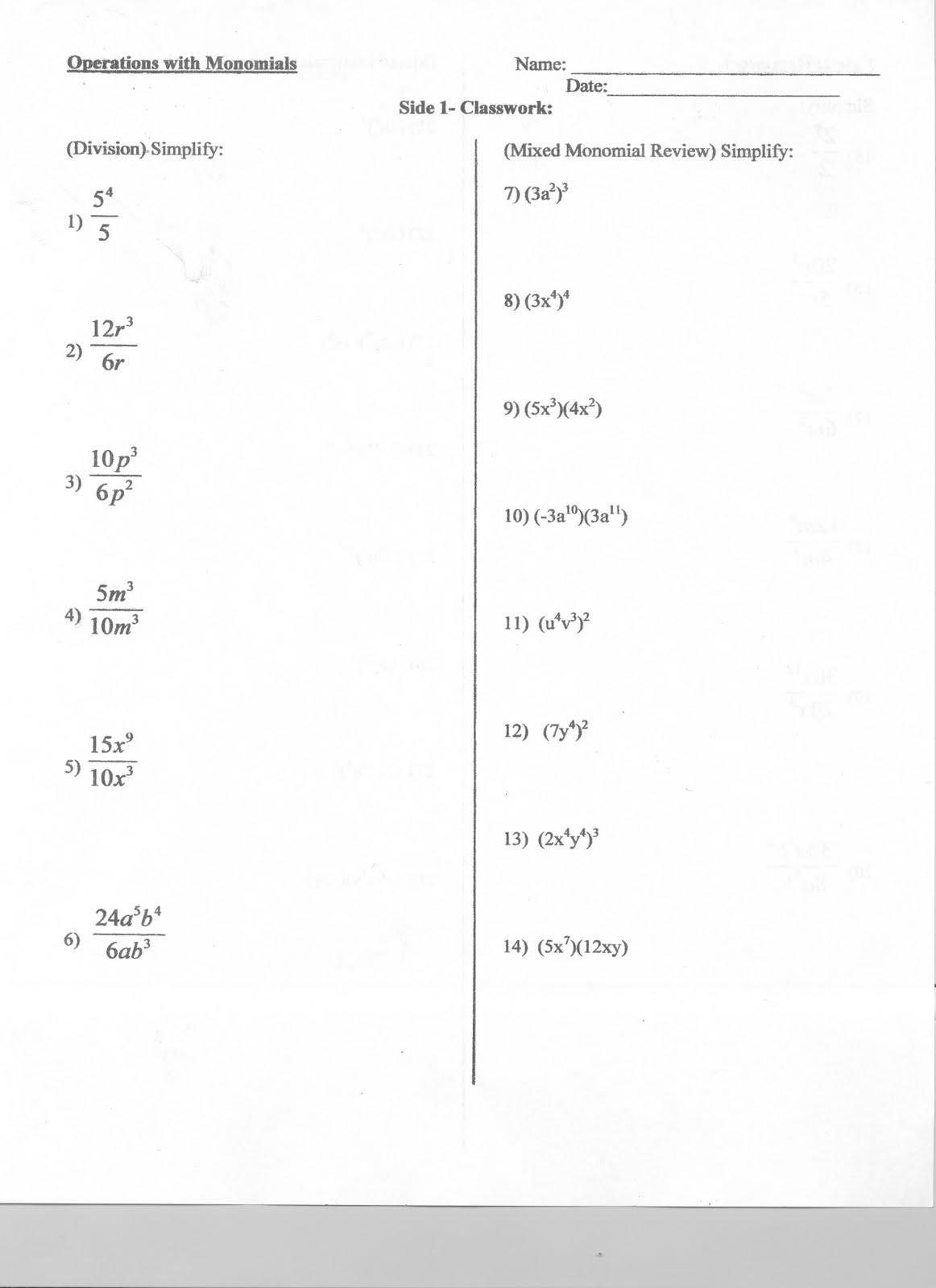 Mr. Napoli's Algebra: Aim: ME 12 How do we multiply