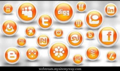 Glossy Orange Orb Social Icons