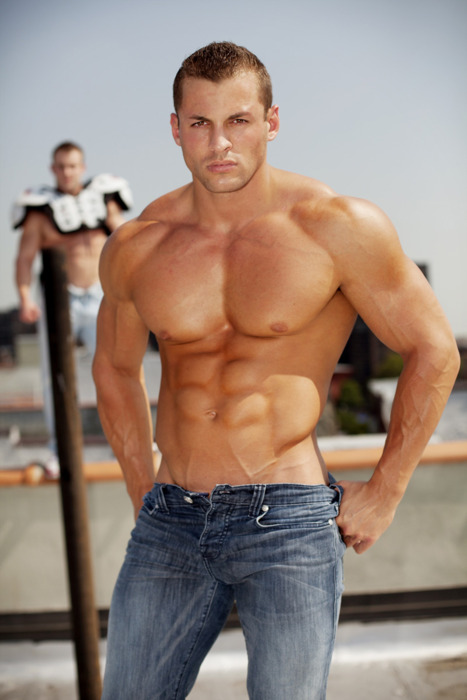 Hunk in Blue Jeans Muscle Hunk