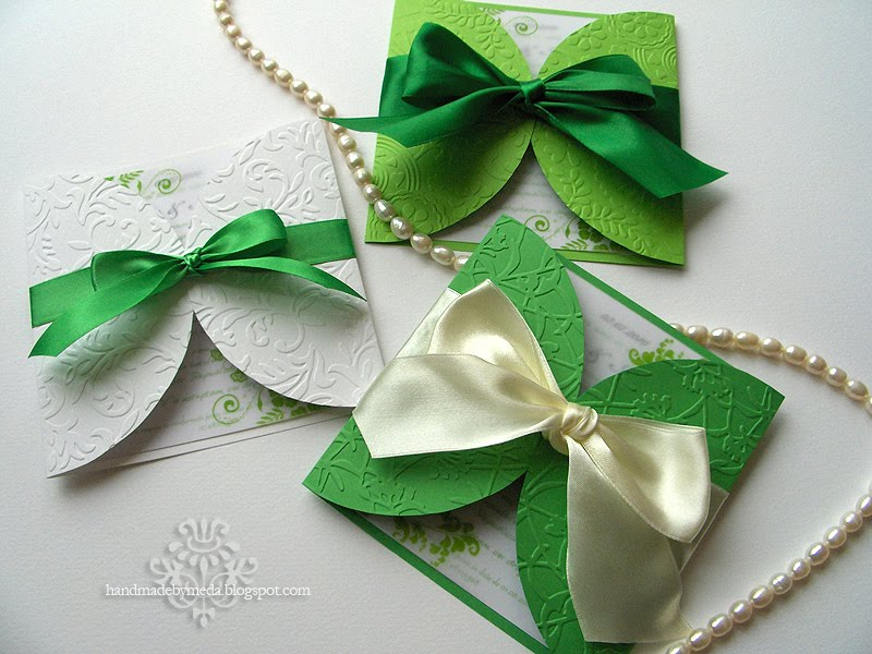 Summer Wedding Invitations: Green And White Summer Wedding Invitations (Invitatii Alb