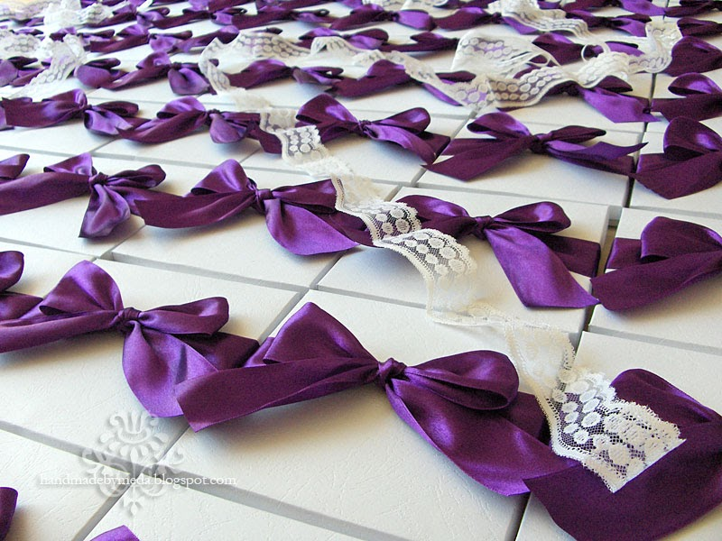 Wedding Invitations With Purple Ribbon: Imagine 275 Wedding Invitations In Boxes Tied With Purple