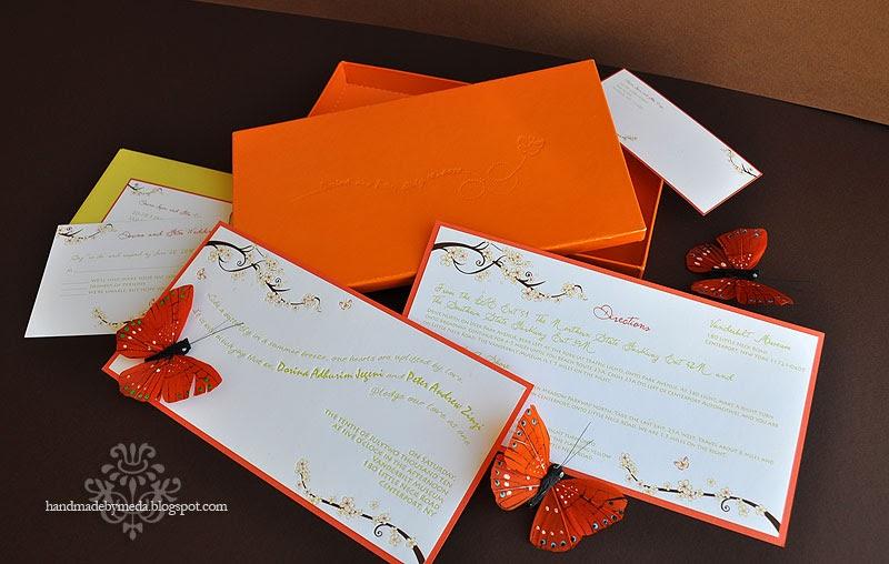 Orange And Green Wedding Invitations: Dorina's Green Orange And Brown Butterfly Invitations