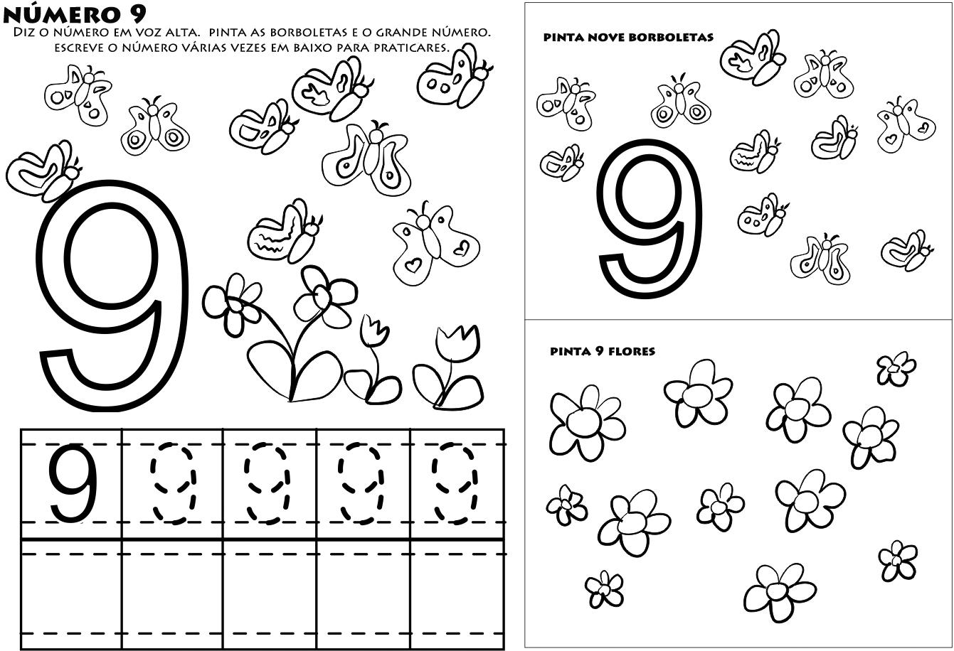 Colorir E Divertido Numero 9 Para Colorir