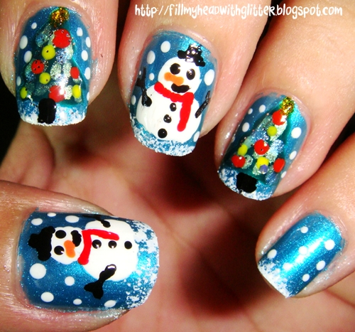 Snowman Nail Art: Fill My Head With Glitter: NAIL ART: Christmas Trees And