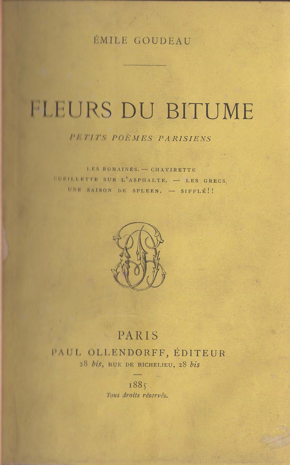 livrenblog emile goudeau fleurs du bitume 1885. Black Bedroom Furniture Sets. Home Design Ideas