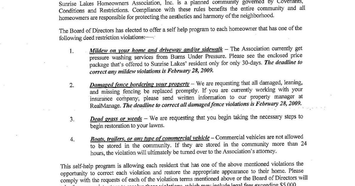 Sunrise Lakes Home Onwers Association Complaints: 1-31-2009