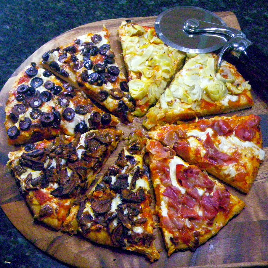 year on the grill pizza quattro stagioni a celebration pizza for the new year. Black Bedroom Furniture Sets. Home Design Ideas