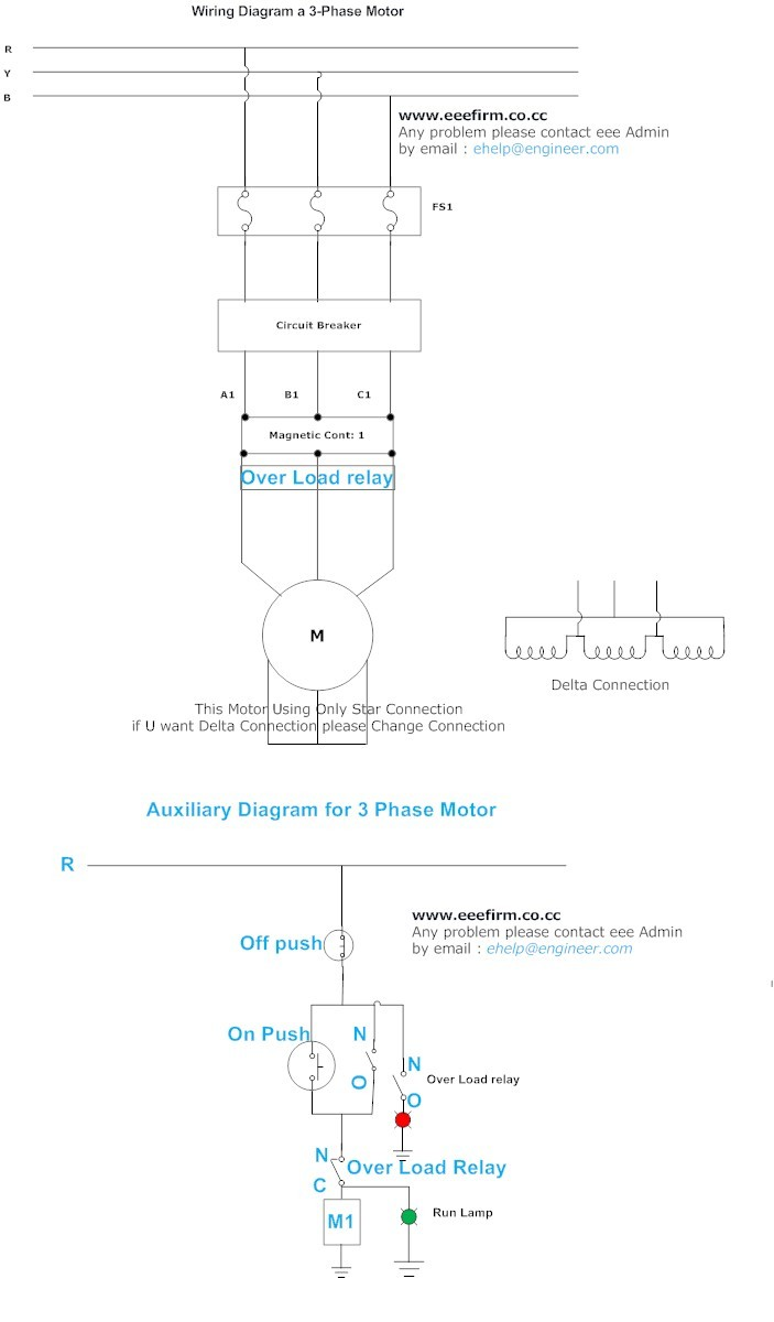 A 3 Phase Motor Connection Wiring Diagram and Auxiliary Diagram (Star) | Electrical And