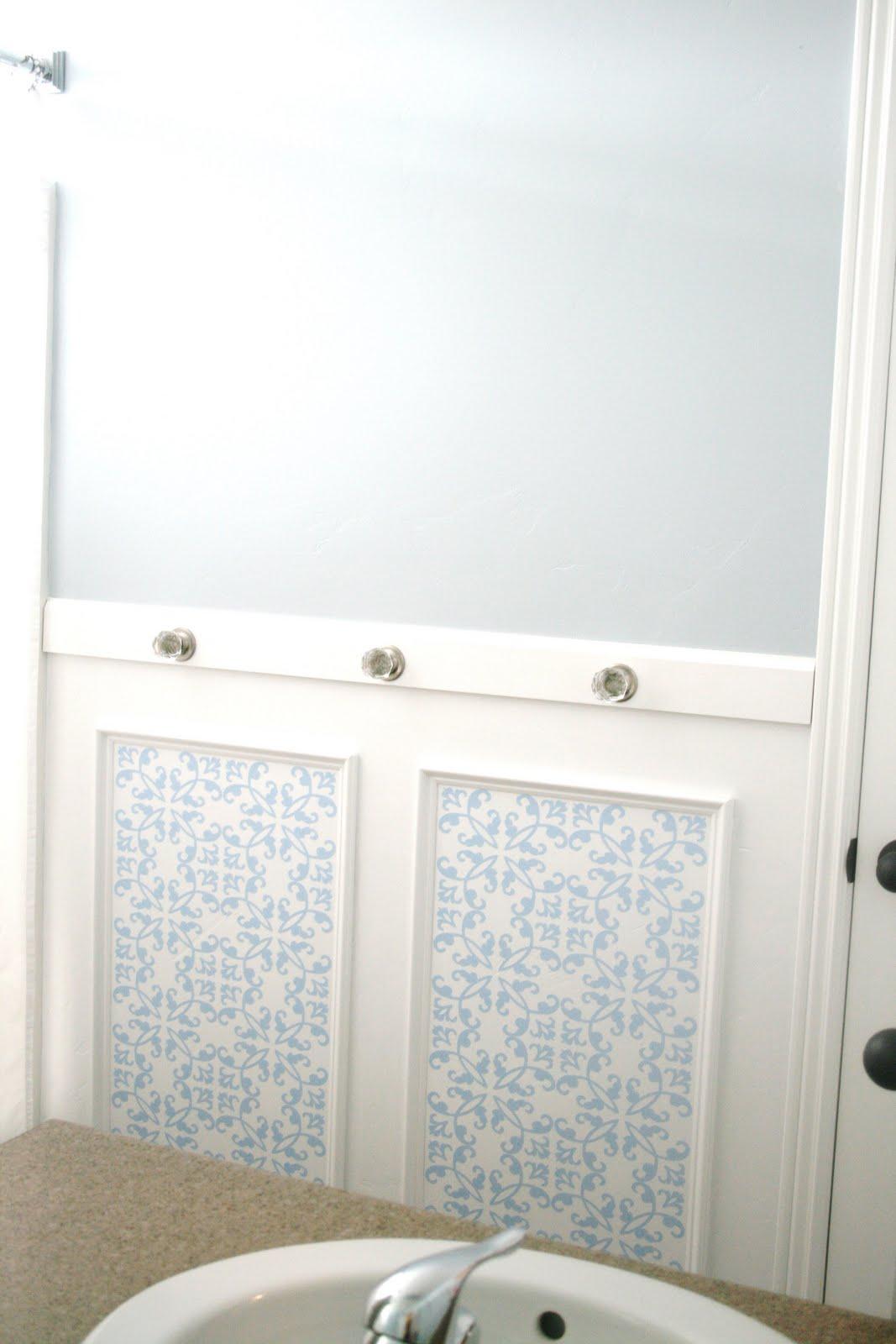 Bathroom Wall Mirrors Large: Chic Bathroom Wall Treatment Tutorial