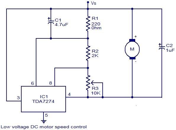 Low voltage DC motor speed control circuit using TDA7274
