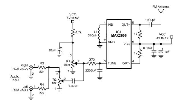 Small Single Chip FM Transmitter Circuit Schematic Diagram
