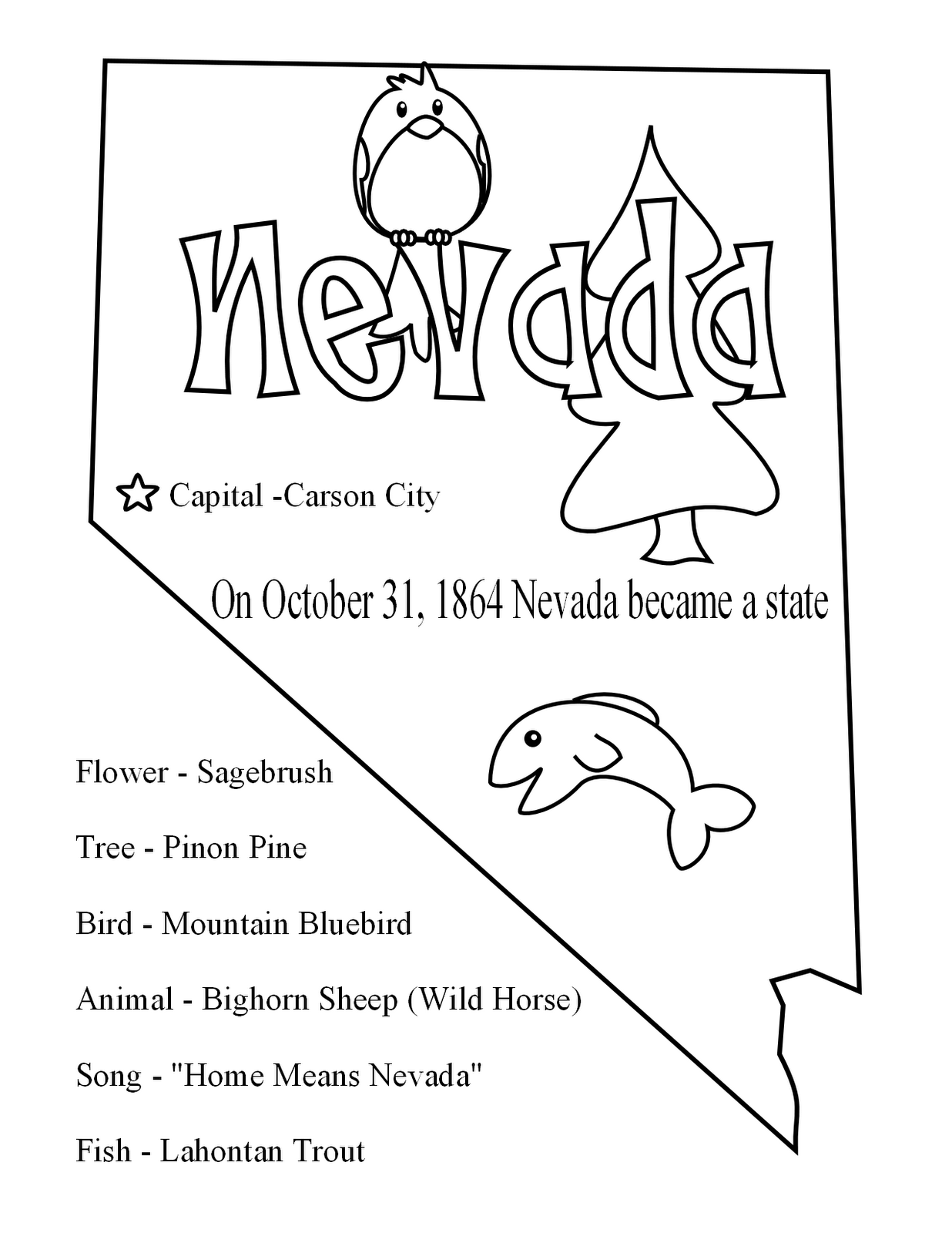 Free For Nevada State Seal Coloring Pages