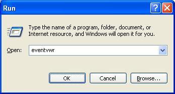 Windows event viewer run command