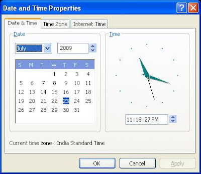 Open Date and time properties window from command prompt