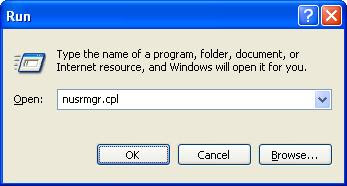 Run command for user accounts on Windows XP
