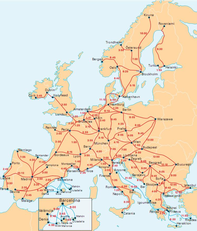 mapa comboios europa InterRail Portugal mapa comboios europa