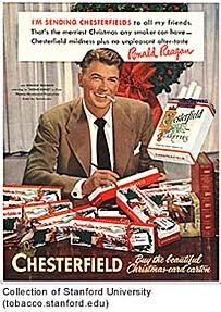 Ronald Reagan pitching Chesterfield brand cigarettes