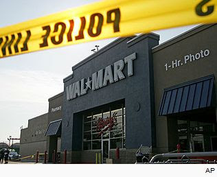 Wal*Mart roped off after the crushing death of a temporary employee