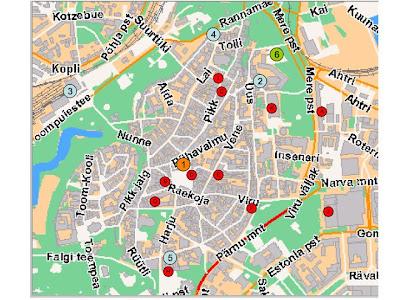 Kristy Niels Bryllup Kort Over Tallinn Centrum Gamle By