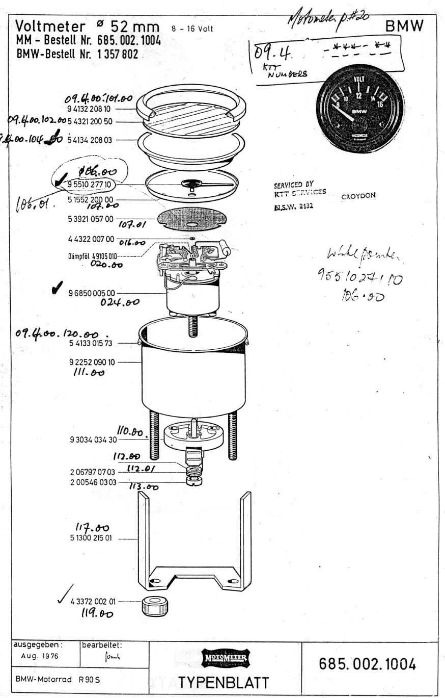 medium resolution of  motometer parts view 252c voltmeter 252c accesories 1977