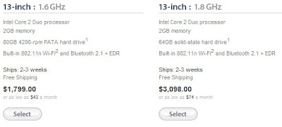 Prices of Macbook air