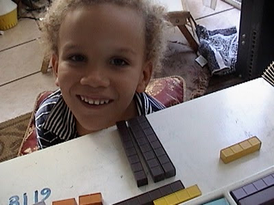 Preschool Math Fun, base ten manipulatives, beginer division