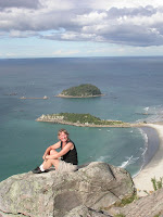 Janie Robinson at top of Mount Maunganui. Photo by Brian Quinn, Travel writer