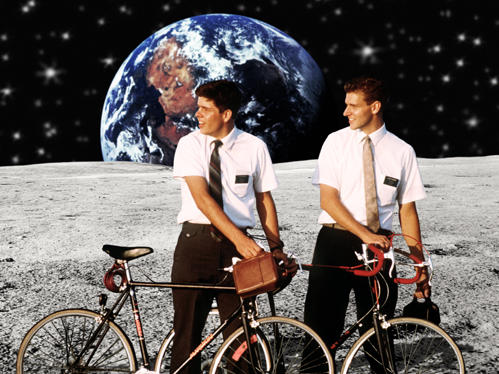 Mormon Missionaires with White Dress Shirts & Bicycles