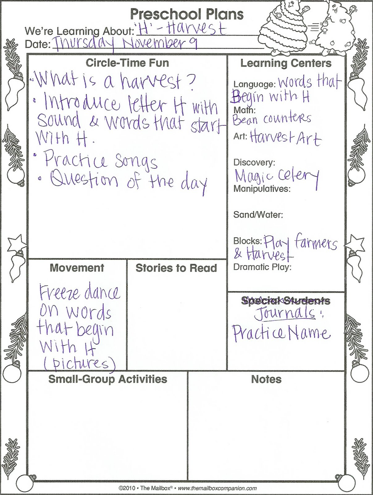 Discovery Days Preschool Lesson Plans