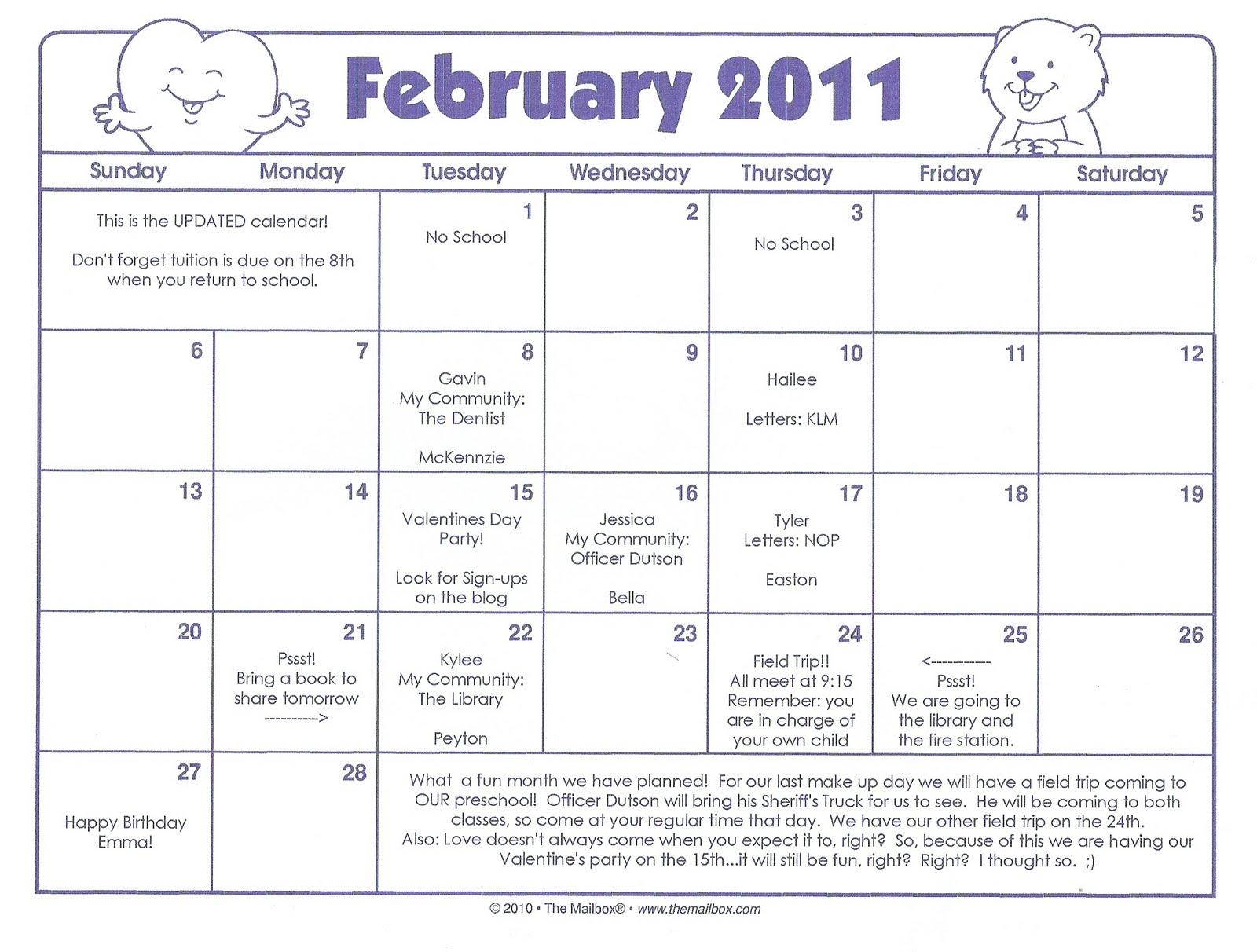 Discovery Days Preschool February Calendar Revision