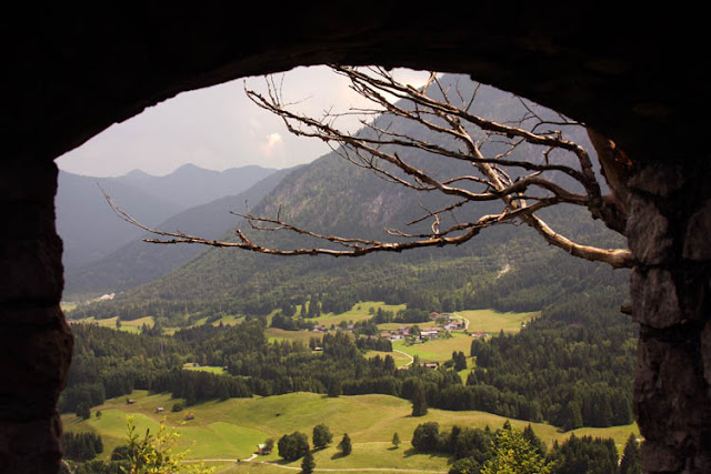 From Ehrenberg castle ruins - a view of Reutte, Austria valley
