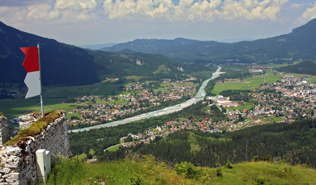 From Schloßkopf ruins: View of Reutte, Austria