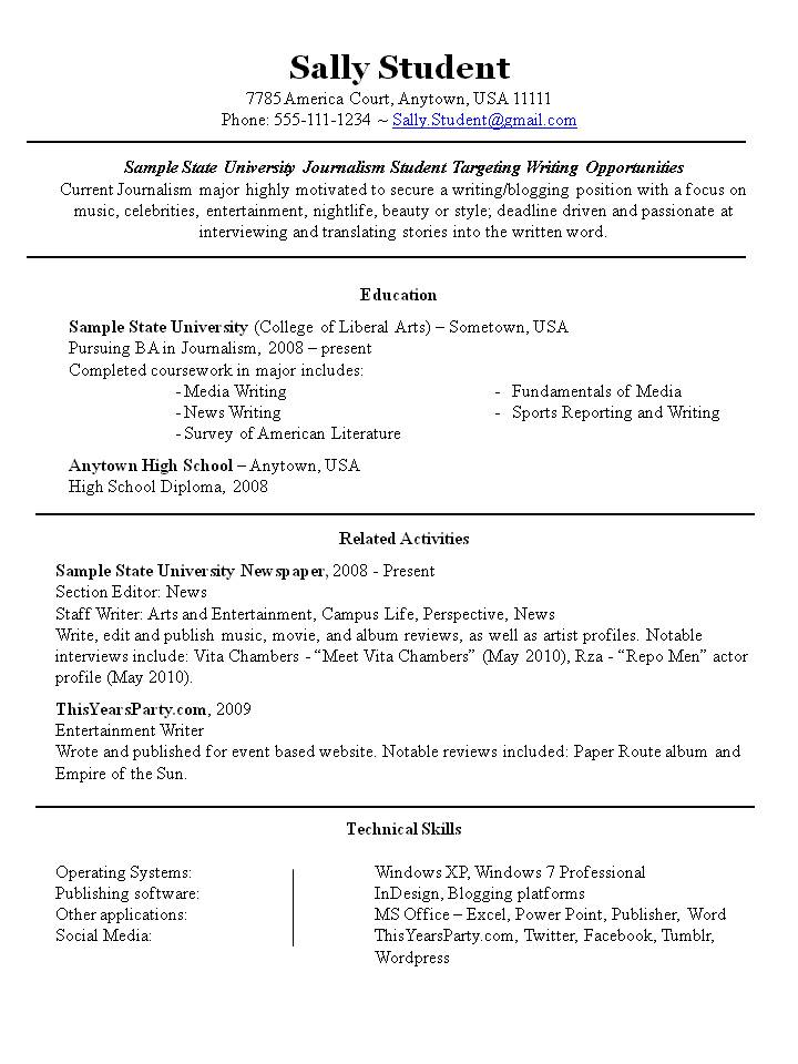 extra curricular activities resume sample