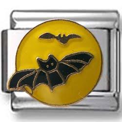 Bats on Moon Enamel Italian Charm