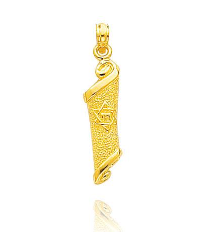 14K Gold Torah Pendant