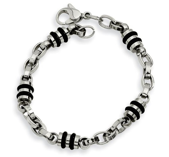Stainless Steel Rubber Bracelet