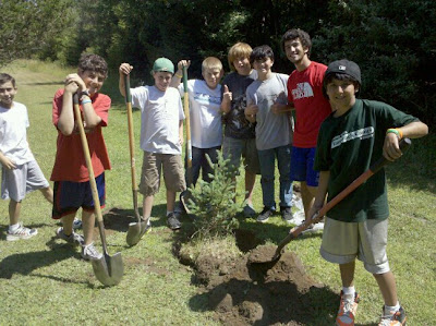 Jewish teens plant trees at Tamarack Camps in Ortonville, Michigan